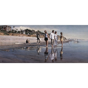 Raising Daughters - family strolling along beach by artist Steve Hanks