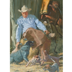 Herdin' Some Wild Ones - old cowboy with his dogs by Bruce Greene