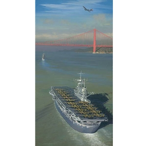 Approaching the Gate to Destiny - Doolittle mission outbound by military artist William Phillips