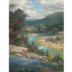 ~ Cliffs of the Nueces - bluebonnets and stream by artist Larry Dyke