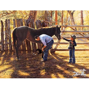 A Helping Hand by western artist Tim Cox