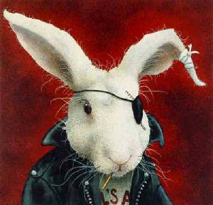 Bad to the Bun - Rabbit Rebel by comedic artist Will Bullas
