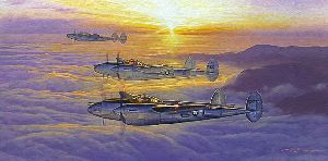 AM Sortie P-38s by aviation artist Craig Kodera