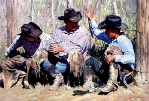 Nothin' But The Truth -Cowboys chatting by western artist Bruce Greene