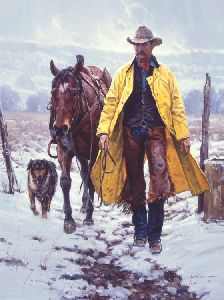 Callin' It a Day - cowboy with his horse and dog by Martin Grelle