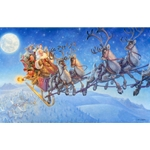 Up, Up, and Away - Santa in Sleigh by Scott Gustafson