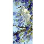 Enchanted April - Great Egret and Jacaranda Blossoms by artist Matthew Hillier
