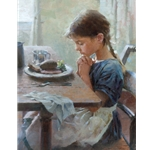A Thankful Heart - Girl offering prayer by artist Morgan Weistling
