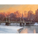 Evening Skate - Boston Common in winter by artist Don Demers