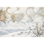 Arctic Procession - Willow Ptarmigan with Caribou by artist John Seerey-Lester