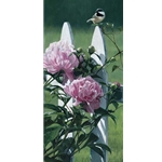 Chickadee and Peonies by artist Terry Isaac