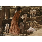 Playing With the Kids - Native American girl with goats by artist Ray Swanson