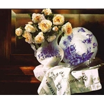 Heirloom Memories - Flow Blue China with Roses by watercolor artist Arleta Pech
