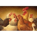 Birds of a Feather Flock Together - Chickens and Rooster by artist Scott Gustafson