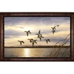 Sunset Canvasbacks by wildlife artist Robert Hautman\