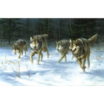 On the Move timber wolves by wildlife artist Jim Hautman