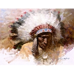 Old Chief's Story - Lakota portrait by western artist Z. S. Liang