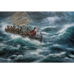 Peace! Be still! - Jesus in boat on stormy seas by Christian artist James Seward