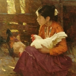 Navajo Girl - child with chickens by western artist Zhou S. Liang