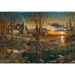 Comforts of Home - log home at sunset on the lake by artist Jim Hansel