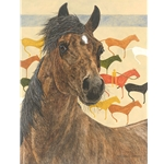 Elk Dog Tipi - Portrait of horse - Blackfoot story by artist Judy Larson
