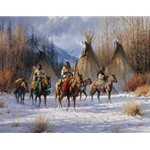 Hunter's Morning - Warriors leaving camp by western artist Martin Grelle