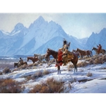 Apsaalooke Horse Hunters  - travelling in the Teton valley by western artist Martin Grelle