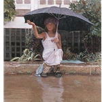 Catching the Rain - girl with umbrella by artist Steve Hanks