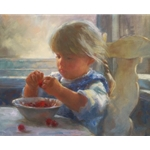 Life is Just a Bowl of Cherries - little girl enjoying her fruit by artist Susan Blackwood