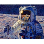 A New Frontier - astronauts on moon surface by artist Alan Bean