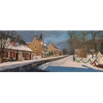 Main Street in Old Salem - North Carolina town by artist Phillip Philbeck