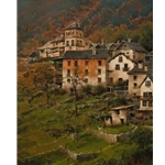 October Hillside, Fusio - quaint Italian village by Bruce Cheever