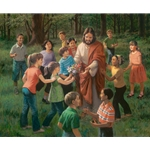 Rejoice in the Lord - children with Jesus by Christian artist James Seward