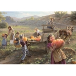 End of Harvest - gathering pumpkins by frontier artist Morgan Weistling