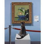 Curiosity - felinus piscatorial - cat in art gallery by artist Ben Steele
