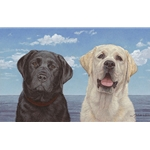 Ebony and Ivory - portrait of black and yellow labs by artist John Weiss