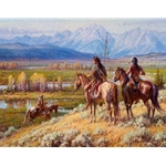 Cheyenne Scouts on the Buffalo Fork - east of the Tetons by western artist Martin Grelle available from Snow Goose Gallery