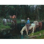 Evening Arrival - cowhands end of day by Bill Anton