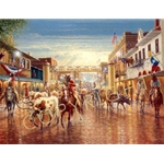 Cowtown - old Fort Worth cattle drive by cowboy artist Jack Terry
