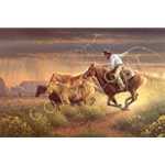 Hot Pursuit dry thunderstorm by cowboy artist Jack Terry