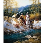 Morning in New Mexico horse riders in the mountains by western artist Jack Terry