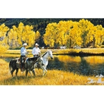 Better Than Gold - riding through autumn colors by cowboy artist Tim Cox