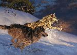 Bustin' Through - Wolves by wildlife artist Greg Beecham