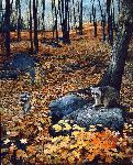 Autumn Hillside - Raccoons by wildlife artist Brent Townsend