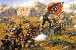 Devil's Den - Battle of Gettysburg by civil war artist Bradley Schmehl