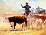 Between Sun and Sod - Roping Cattle by western artist Bruce Greene