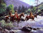 Cautious Crossing by western artist Martin Grelle