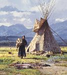 Morning Chores - Indian woman by western artist Martin Grelle
