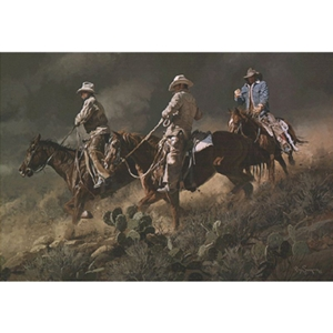 Bustin' for Beans, Biscuits and Beef - Cowboys by artist Ray Swanson