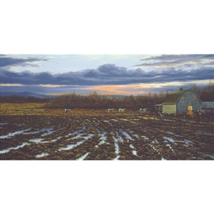 End of the Day - Sunset over dairy farm by artist Paco Young